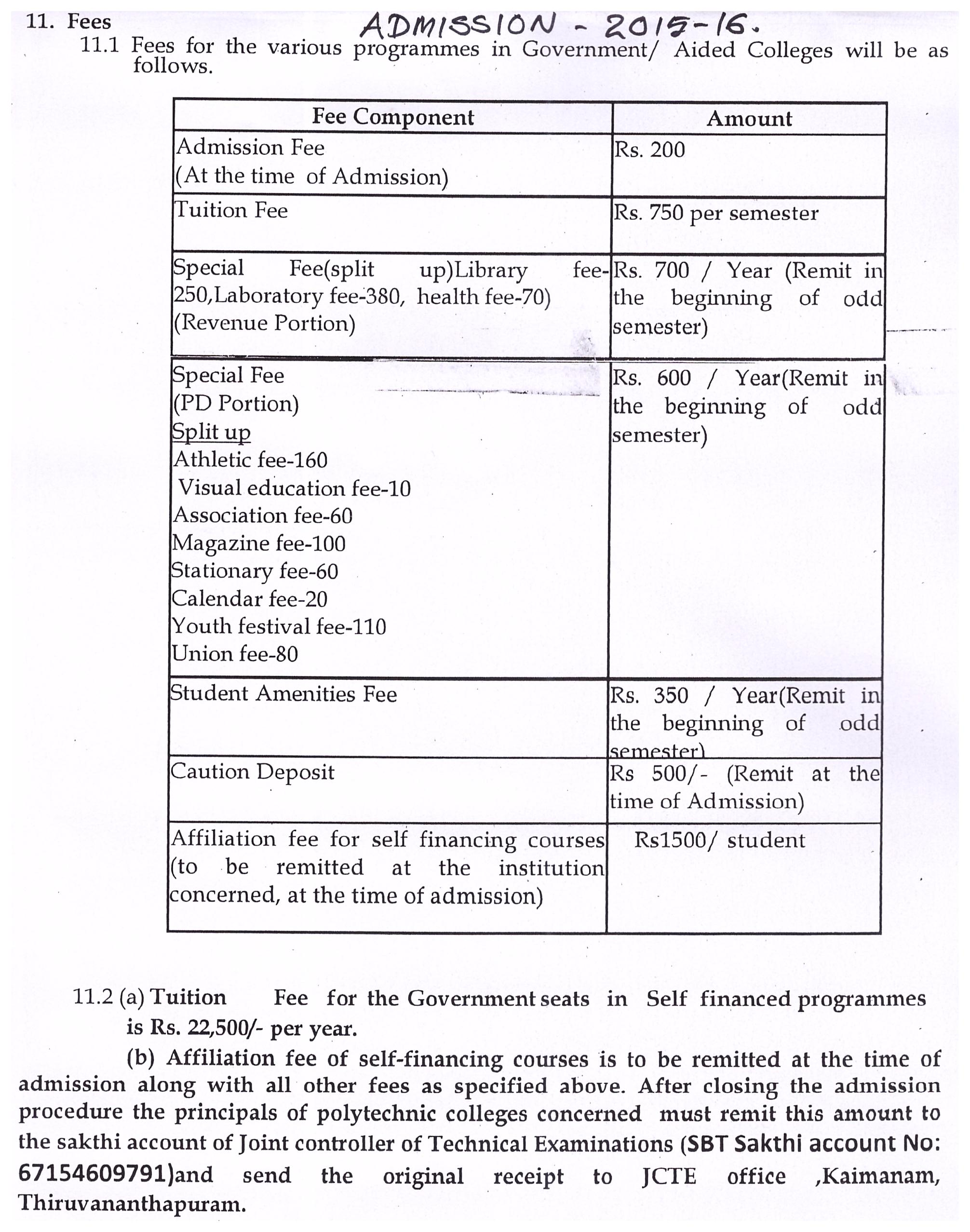 ... Revised fees structure for regular diploma programme,2015-16 admission  ...